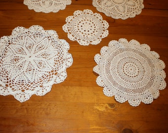 Group of Five Round Doilies