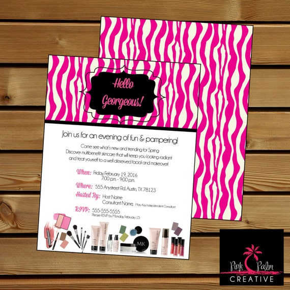 mary kay girls night out party invitation pink zebra 7 x 5, Party invitations