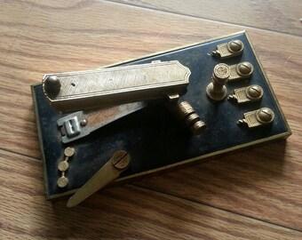 Vintage stapler gold plated desk stapler industrial home decor