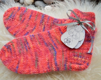 Pink wool socks , warm wool gift , ladies socks , warm gift for her , cozy socks , home slippers , pink boot cuff , hiking socks , US 6-7,5