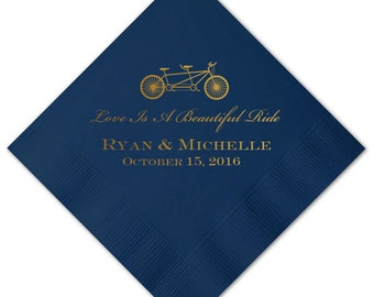 Love is a Beautiful Ride Bicycle Personalized Wedding Napkins