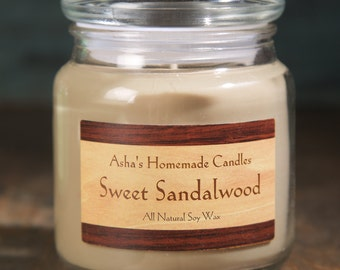 Sweet Sandalwood Soy Candle | 16 oz. | Hand Poured | All Natural Soy Wax | Gift Idea