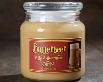 Harry Potter Butterbeer Soy Candle | 16 oz. | All Natural Soy Wax | Geek Gift Idea