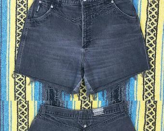 "Vintage 1980s Rockies Black High Waisted Cut Off Denim Jean Shorts size L (waist 30"")"