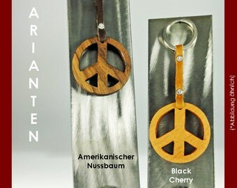 Keychain peace from fine woods