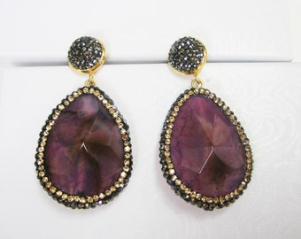 Purple Agate and Crystal Earrings