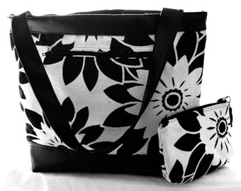 FLOWER POWER TOTE with matching mini clutch purse/ large hand bag/ diaper bag
