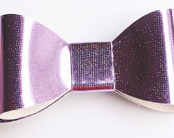 Baby/Toddler/Girl/Adult 2.75 Inch Hologram / Reflective Hair Bow on Lined Alligator Clip - Purple