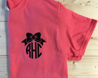 Monogram T-Shirt with Bow - Personalized T-Shirt - Bow - Wedding - Gift - Bridesmaid Gift