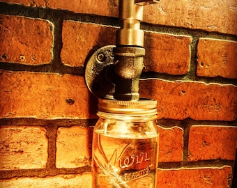 Industrial Steampunk Liquid Soap Dispenser with Mason Jar and cast iron pipe Simple soap pump rustic
