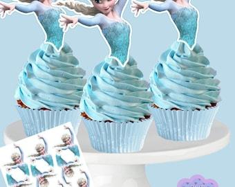 Disney Frozen ELSA Cupcake Toppers, Cupcake Picks INSTANT DOWNLOAD