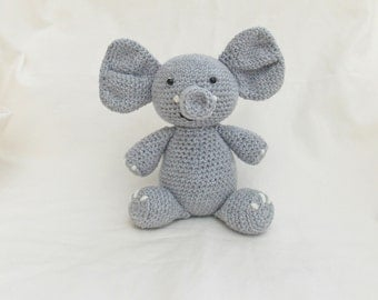 Crochet Elephant, Amigurumi Elephant, MADE TO ORDER, crochet new baby welcome gift, nursery decoration, crochet elephant plushie