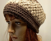 Taupe Brown & Sandy Oatmeal Crochet Cap, Winter Head Warmer Cap, Textured Warm Hat For Winter, Trendy Fashion Hats, Holiday Gift Ideas (WH9)