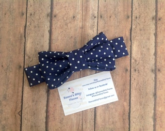 Baby Bow Tie || Toddler Bow Tie || Navy with White Polka Dot || Kids Bow Tie
