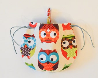 Colored Owls Coin Purse, small cotton bag, change bag, owl bag, Christmas gifts