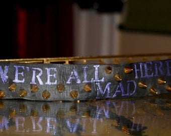 Alice in Wonderland Custom Reliced Leather Bracelet