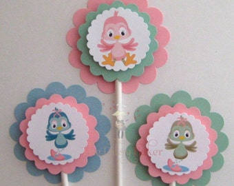 Baby Shower, A Little Bird Told Me So - Cupcake Toppers - set of 12