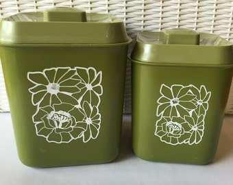 Vintage Avocado Green Plastic Canister Pair with White Flowers
