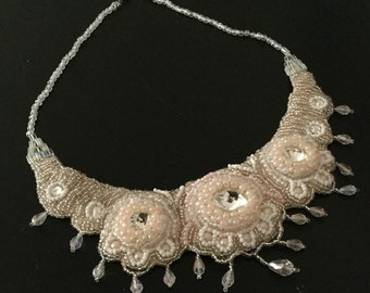 White Wedding Bib Necklace