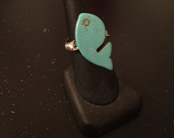 Whale Bead ring, US size 7-7.5