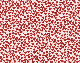 9.50 Yard - Timeless Treasures Red Hearts - 100% cotton Fabric C3355