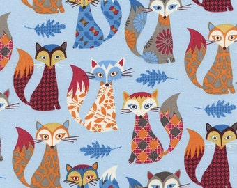 Timeless Treasure Fabric Cute Multicolored Patterned Fox Foxes on Blue  - Novelty - folklore