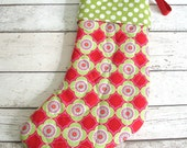 Quilted Christmas Stocking / Handmade Red and Green Fabric Christmas Stocking / Kids Stocking /  Large Christmas Stocking