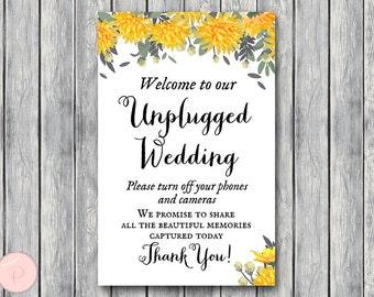Orange Unplugged Wedding Sign, Unplugged Ceremony Sign, Printable Wedding Sign, Printable sign, Wedding decoration sign TH29