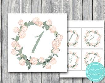Wedding Table Numbers Printable, DIY Table Number Sign, Wedding Table Numbers - Digital File, DIY Print TG04 WD11