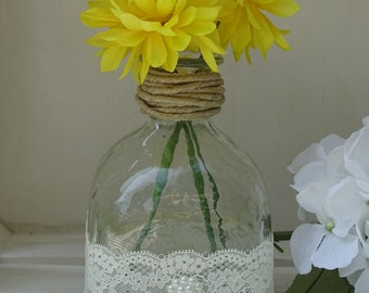 Patron bottle vase with twine, lace, and pearls