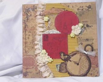 Premade Scrapbook Paris Victorian 12x12 Layout Page