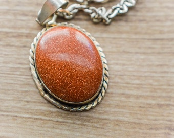 Brown goldstone vintage pendant- silver chain