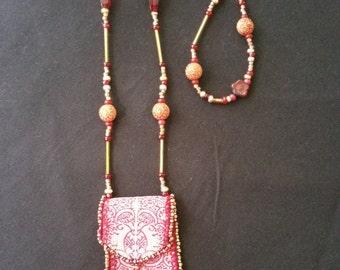 Boho Amulet Bag with Beaded Strap