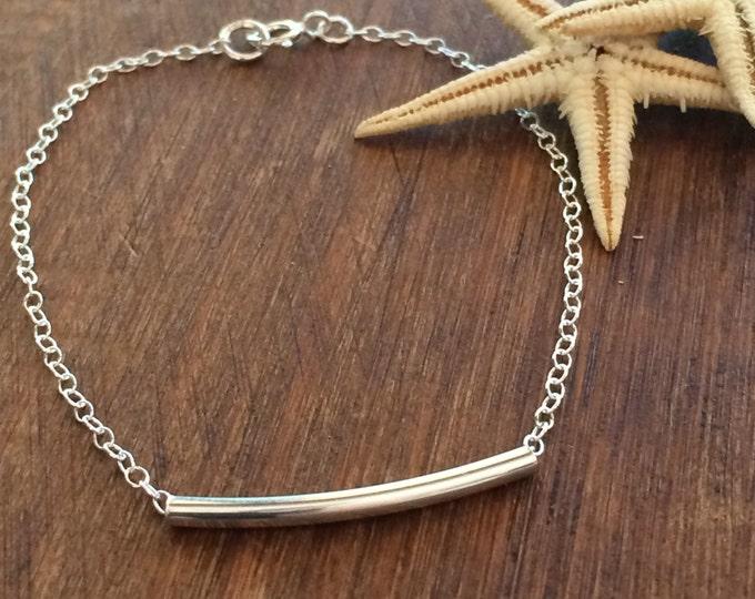 Sterling Silver Bracelet Silver Bar Bracelet 14k Gold Filled Bracelet Gold Bar Anklet Bridal Gift Bridesmaid Jewelry Delicate Tiny Layering