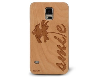 Laser Engraved California Palm Tree Smile Quote on Genuine Wood phone Case for Galaxy S5, S6 and S6Edge S-038