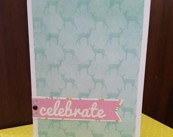 CELEBRATE card, Deer background.