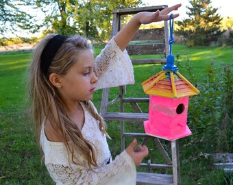 One Of A Kind Bird House( made with love by little girl)