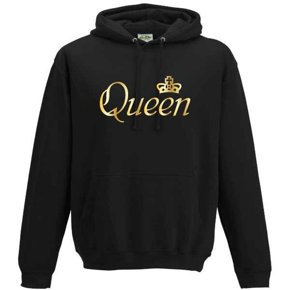 Queen with Crown Hooded Sweatshirt. Unisex Long Sleeved Quality Hooded Sweater. Royalty, Royal, Regal