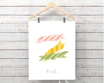 PASTA illustration II , FUSILLI Italian food decor pasta, Wall Art food, Culinary art, Kitchen decor, Italian food, poster, Wall print