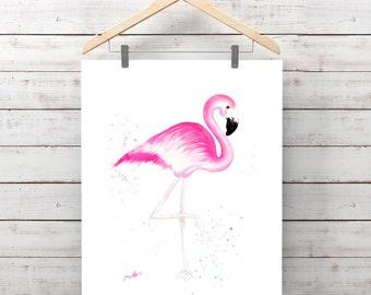 FLAMINGO Original WATERCOLOR hand-madeBird Animal Wall Art Home Decor Tropical Pink Flamingo gift ideas for her, flamingo art  Zen painting