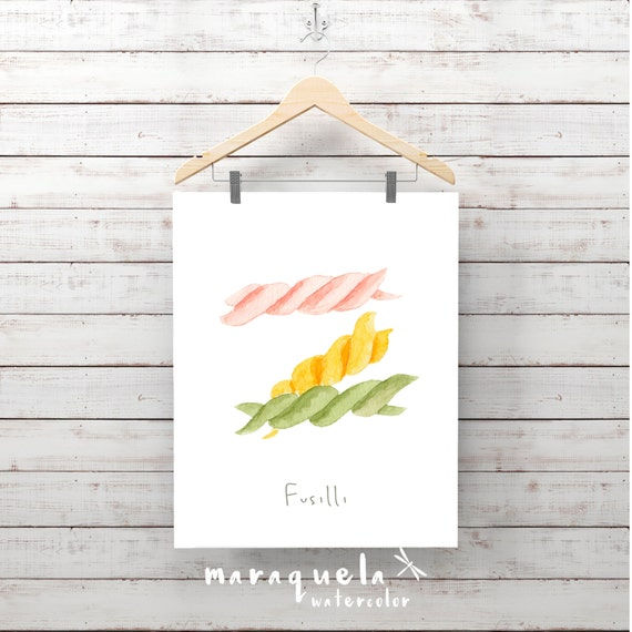 PASTA illustration II , FUSILLI Italian food decor pasta, Wall Art food, Culinary art, Kitchen decor, Italian food, poster, Wall print