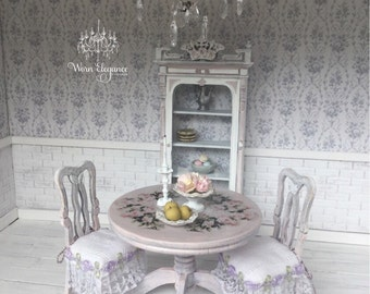 Dollhouse Miniature Lilac Table and Two Chairs, 1:12, Decoupage, OOAK, Shabby Chic Table and Chairs