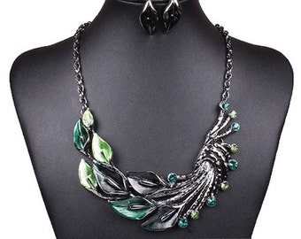 Beautiful Green Enamel Statement Bib Necklace Earring Set with Magnetic Clasp