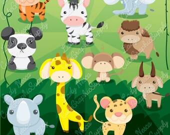 Zoo clipart, zoo clip art, animal clipart, animal clip art, animals, zebra clipart, tiger, giraffe, panda, monkey, -LN0138-