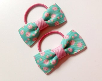 Pair of Small Ditsy Print Pigtail Bobbles