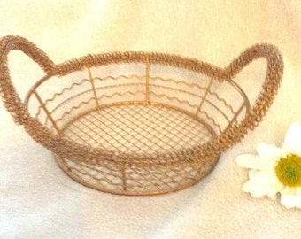 Christmas in July Vintage brass wire basket.