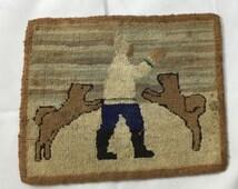 Vintage GRENFELL Industries Hooked Rug Mat Labrador Newfoundland Mission Silk Stocking Hooking Burlap Siberian Husky Dogs Home Decor Art