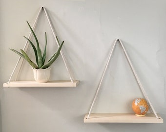 Hanging Planter, Planter, Rope Shelf, Wall Planter, Hanging Shelf, Wood Shelves, Hanging Shelves, Bathroom Storage, Wall Decor, Hanging