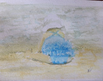 Watercolour painting, Little girl playing in sand, beach lover gift, beach decor, beach house decor, beach art, coastal art, girls room