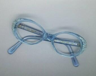 Vintage NOS Aqua Rhinestone Pearl Charisma Glasses Frames 60s Mod